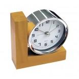 Zegar z budzikiem, materiał drewno, metal, kolor brązowy 03014
