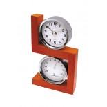 Zegar z budzikiem i termometr, materiał drewno, metal, kolor brązowy 03015