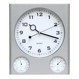 Zegar z higrometrem i termometrem, materiał tworzywo, kolor srebrny 03033