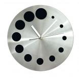 Zegar KROPKI czarny, materiał metal, kolor czarny 03039-02