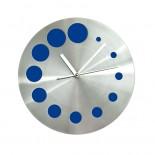 Zegar ścienny KROPKI niebieski, materiał metal, kolor niebieski 03039-03