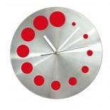 Zegar KROPKI czerwony, materiał metal, kolor czerwony 03039-04