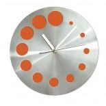 Zegar KROPKI pomarańczowy, materiał metal, kolor pomarańczowy 03039-07