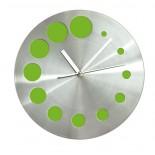 Zegar KROPKI zielony, materiał metal, kolor zielony jasny 03039-13