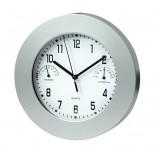 Zegar z termometrem i higrometrem, materiał tworzywo, kolor srebrny 03046