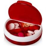 Pudełko na pigułki Olivia bialy,Czerwony 12608201