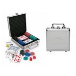 Zestaw do gry w pokera, materiał metal, tworzywo, kolor srebrny 14028