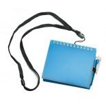 Notes z długopisem na smyczy niebieski, 80 kartek, materiał tworzywo, poliester, kolor niebieski 17079-03