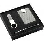 Zestaw: etui na wizytówki, brelok do kluczy i długopis, kolor szary 2761707
