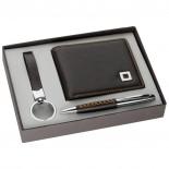 Zestaw: portfel, brelok, długopis, kolor brązowy 2762001