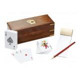 Karty do gry z ołówkiem i notesikiem, materiał drewno sheesham, mosiądz, kolor brązowy 31004