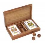 Karty do gry i kości, materiał drewno sheesham, mosiądz, kolor brązowy 31007