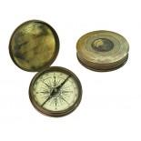 Kompas w torbie, materiał mosiądz, skóra , kolor brązowy 31018