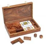 Zestaw gier - karty, domino i kości, materiał drewno sheesham, mosiądz, kolor brązowy 31028