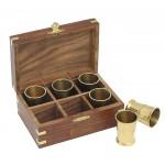 Zestaw 6 kieliszków, materiał drewno sheesham, mosiądz, kolor brązowy 31030