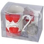 Porcelanowy zestaw do herbaty, kolor czerwony 8838905
