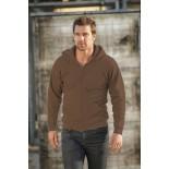 Bluza męska rozpinana z kapturem, kolor brązowy SWZ28001-M